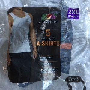 Men's White A-Shirts 5-Pack Size 2XL